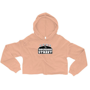 115 Bourbon Street - Black Sign - Women's Crop Hoodie