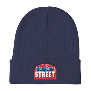 115 Bourbon Street - Red Sign - Knit Beanie
