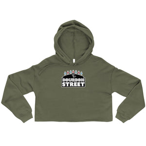 Bourbon Street Staff - Black Sign - Womens Crop Top Hoodie