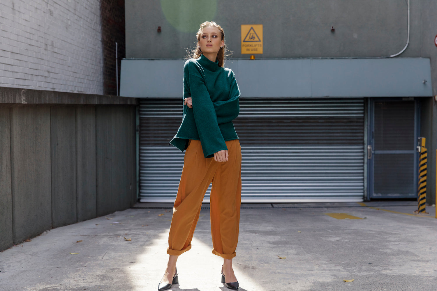 Australian luxury brand St Cloud Label makes high quality, premium knitwear at an affordable price, such as this parnis mock neck sweater, made from felted wool, available in green, wine and grey