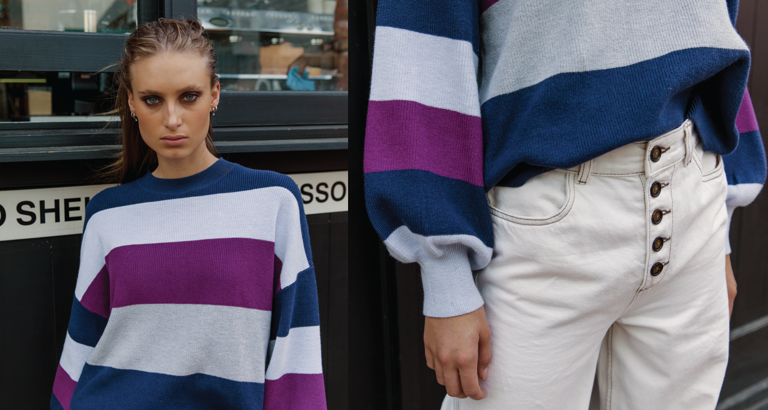 Australian luxury brand St Cloud Label makes high quality, premium knitwear at an affordable price, such as this mauna stripe crew neck sweater, with wide balloon sleeve, high cuff detail available in multi stripe, blue, navy, purple and grey, made from a cotton silk blend yarn