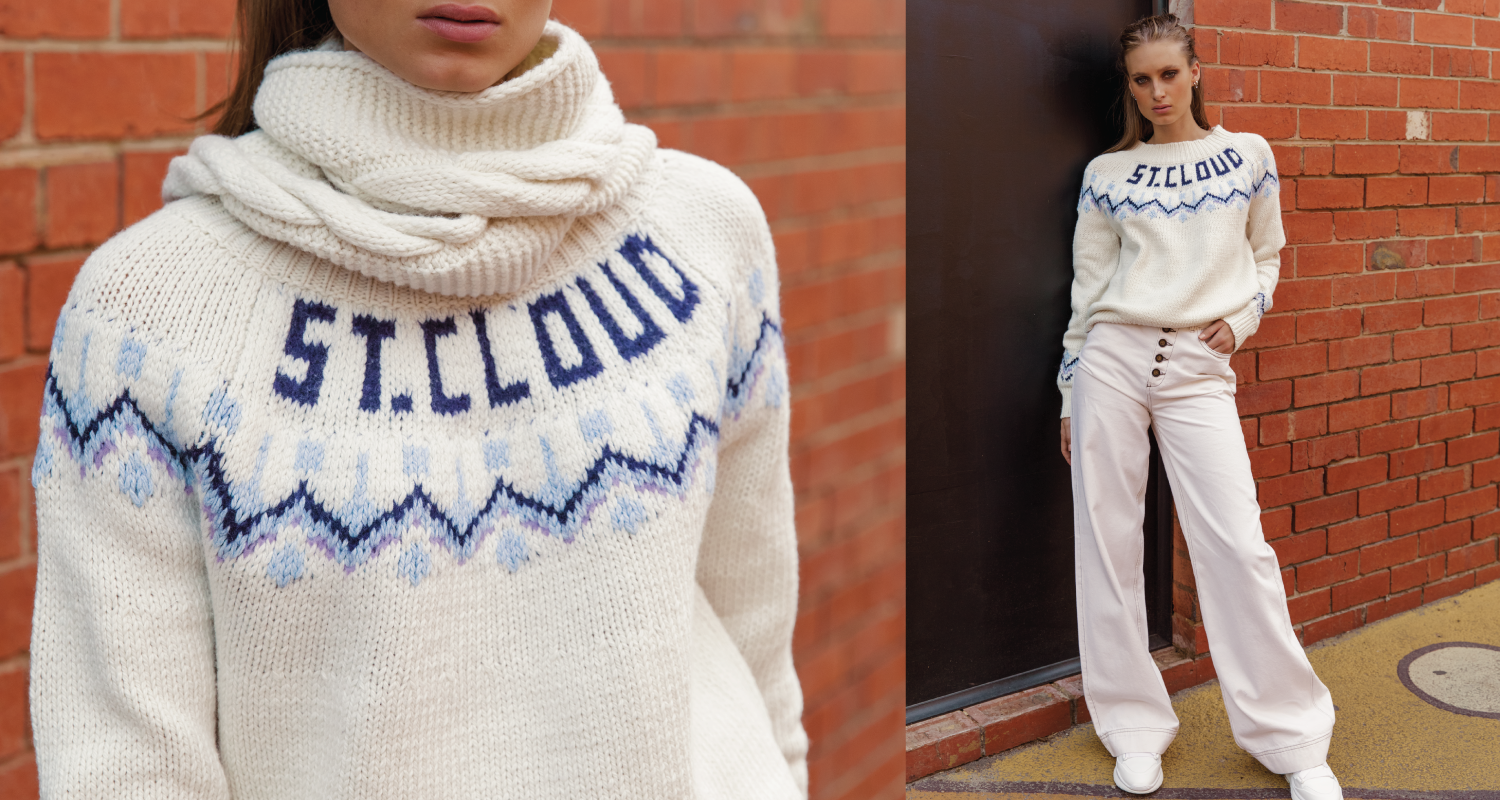 Australian luxury brand St Cloud Label makes high quality, premium knitwear at an affordable price, such as this Aspen Fairisle Jumper, made from a cotton blend yarn with logo design around the neck line. This style is available cream