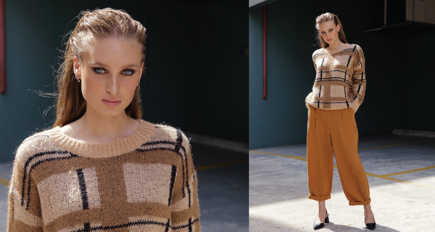 Australian luxury brand St Cloud Label makes high quality, premium knitwear at an affordable price, such as this paxton plaid sweater available in both caramel and charcoal