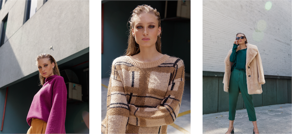 Australian luxury brand St Cloud Label makes high quality, premium knitwear at an affordable price, such as this range of winter 19 styles, which are available now online, these sweaters were shot on the  street in cremorne, melbourne and are available in various yarns and colours