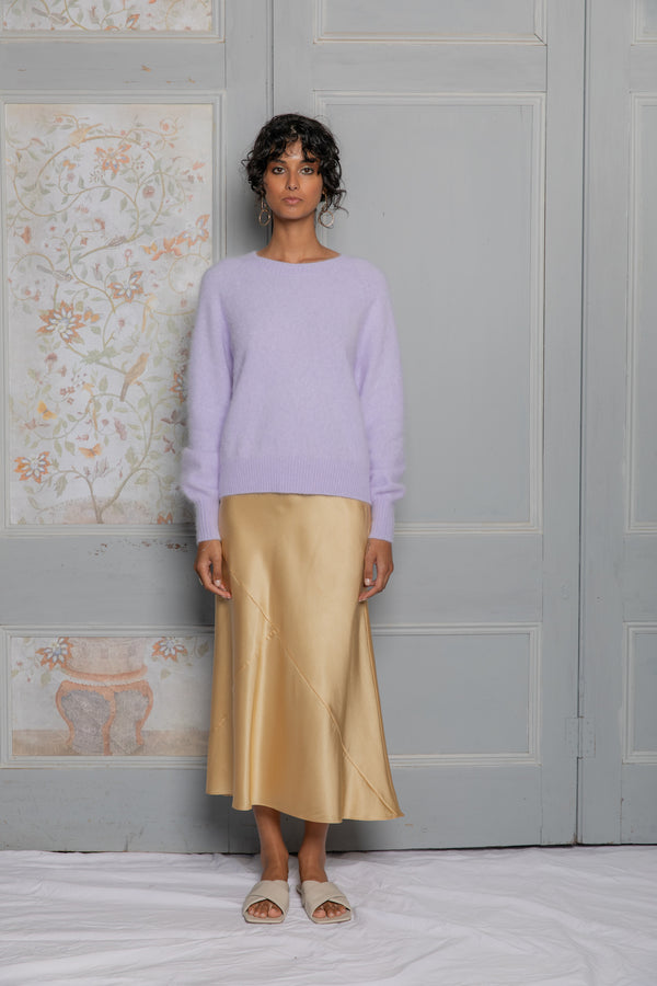 Fluffy Crew Knit Pullover - Lavender