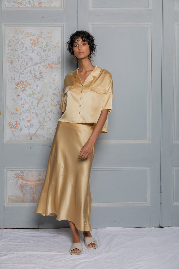 ** PRE-ORDER ** Silk Bias Cut Skirt - Liquid Gold