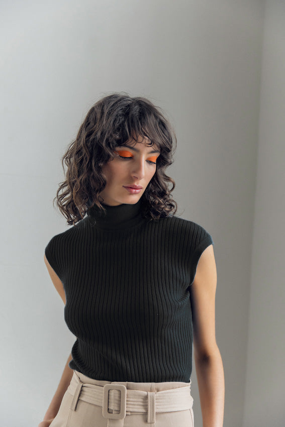 Whitney Turtle Neck Tank - Black by  St Cloud Label