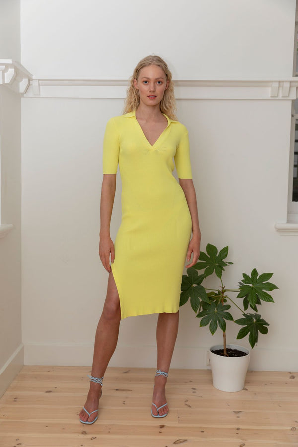 Midi Polo Dress - Neon Lemon
