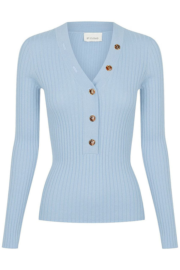 Long Sleeve V Neck Button Rib - Cloud blue
