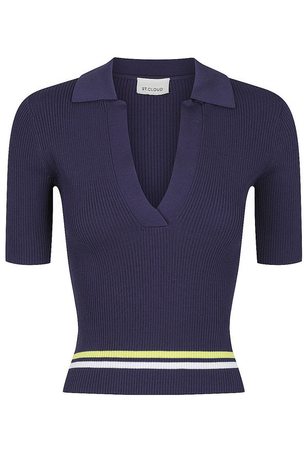 Stripe Rib Polo - Navy with White and Lime