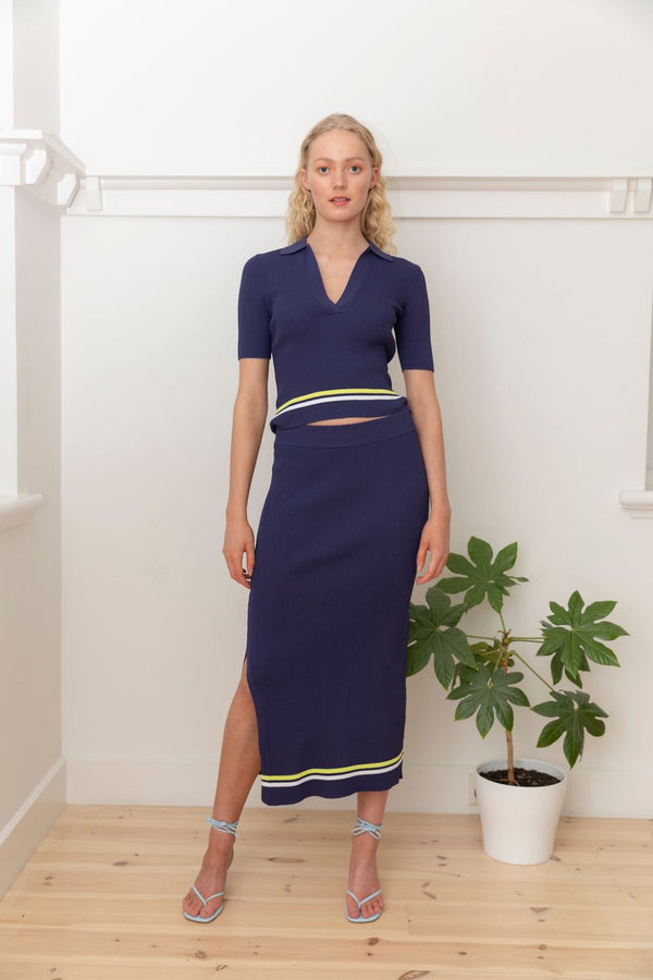 Stripe Rib Skirt - Navy with White and Lime