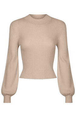 Balloon Sleeve Rib Knit - Camel