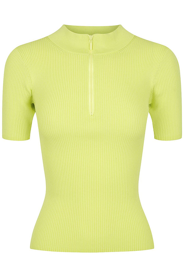 Zip Mock Neck - Lime