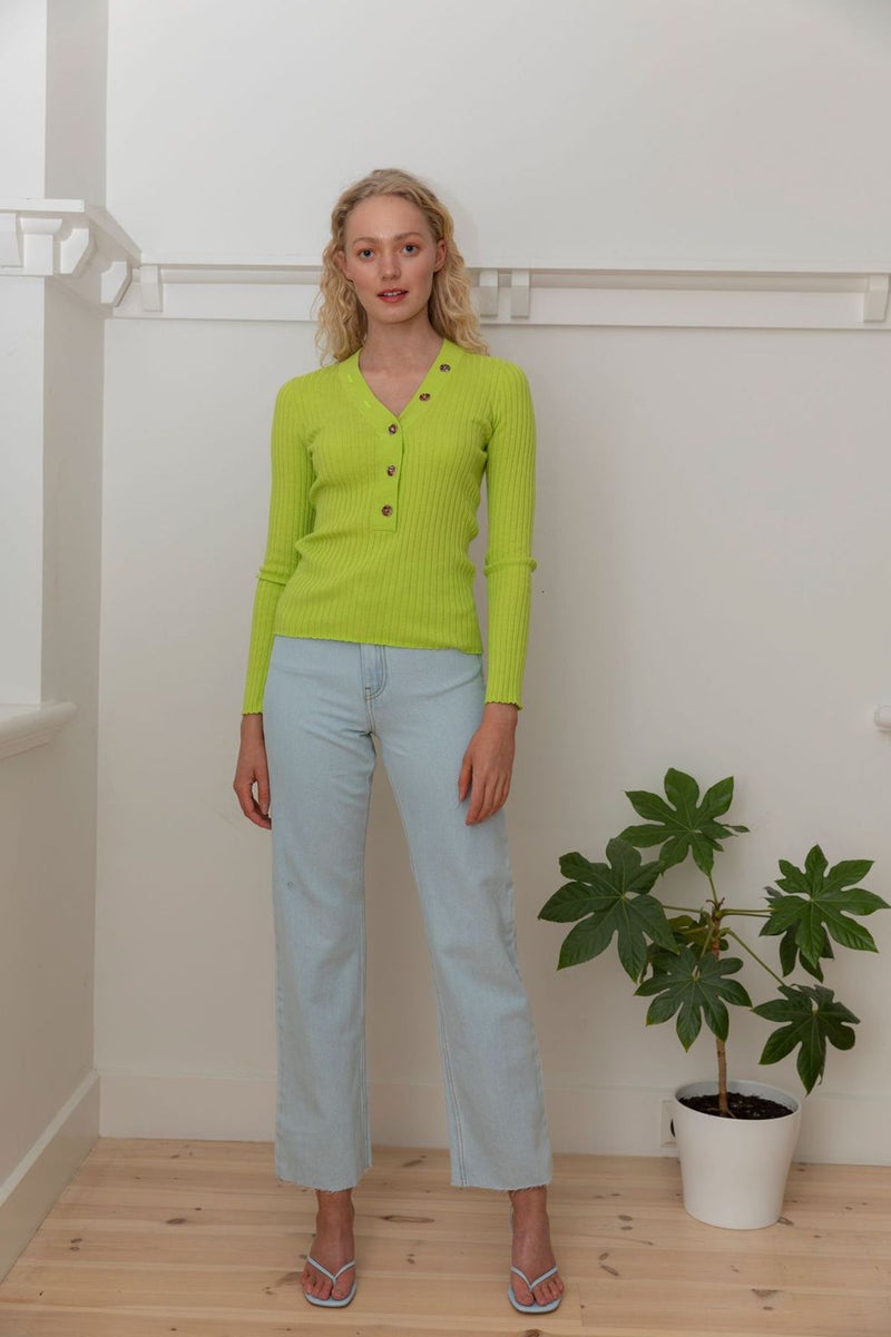 Long Sleeve V Neck Button Rib - Lime