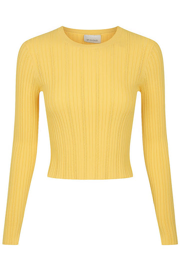 Long Sleeve Pointelle Crew - Marigold