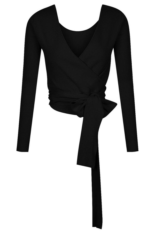 Reversible V Neck Ballet Wrap - Black