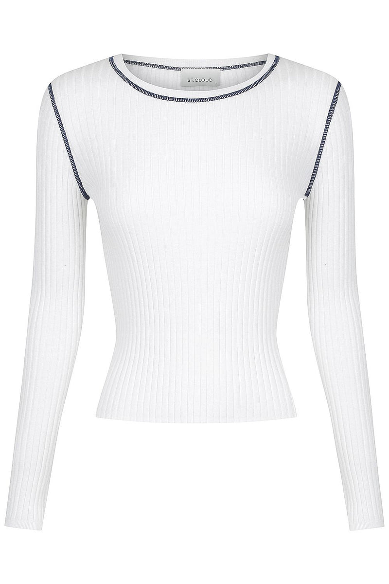 Long Sleeve Rib Crew - White