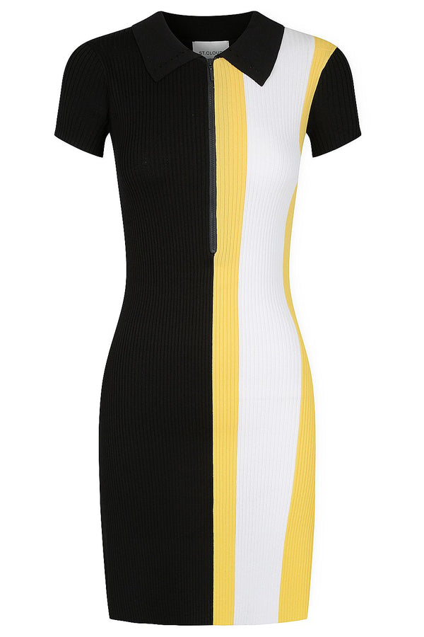 Zip Polo Dress - Black with Marigold and White