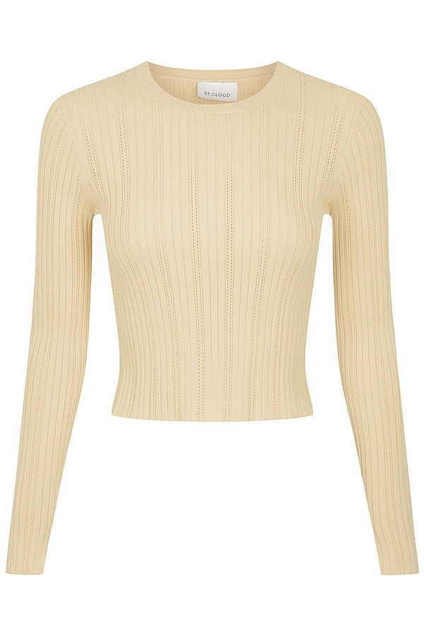 Long Sleeve Pointelle Crew - Bone