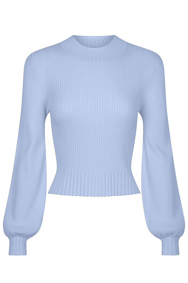 Balloon Sleeve Rib Knit - Blueberry