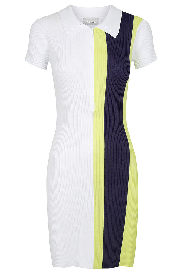 Zip Polo Dress - White with Lime and Navy