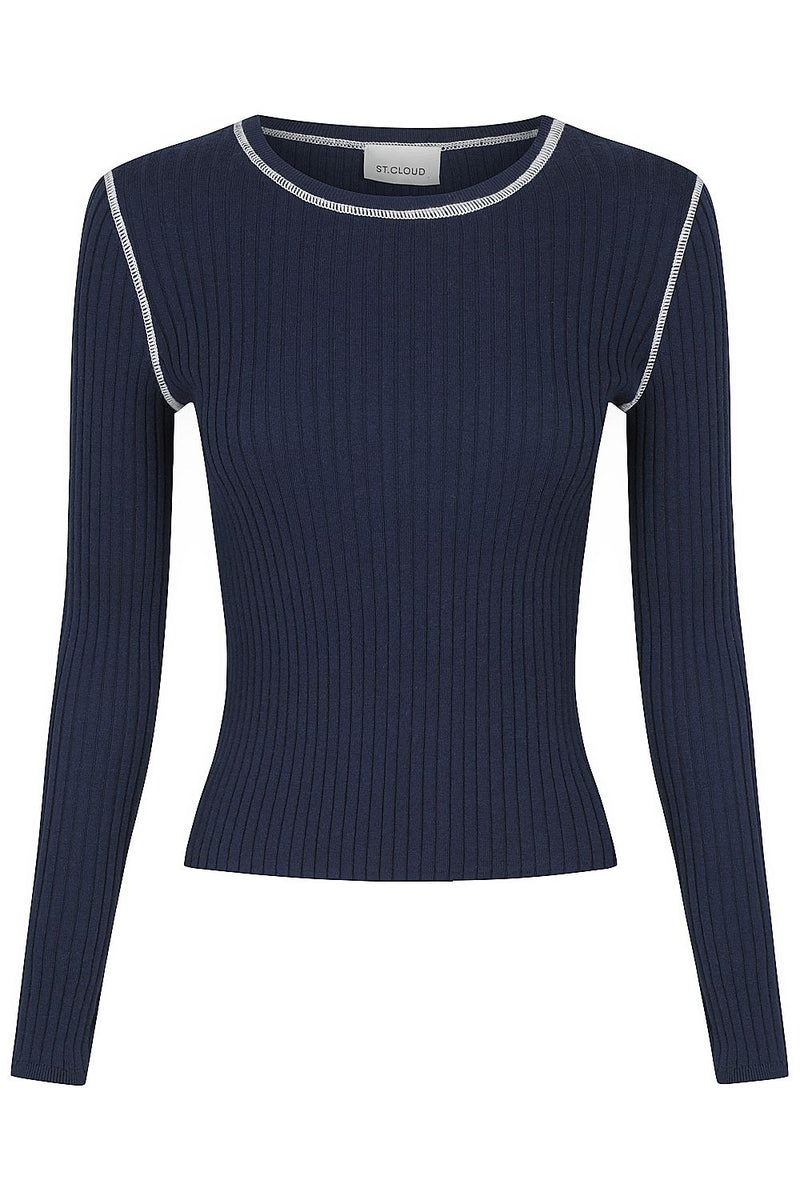 Long Sleeve Rib Crew- Navy