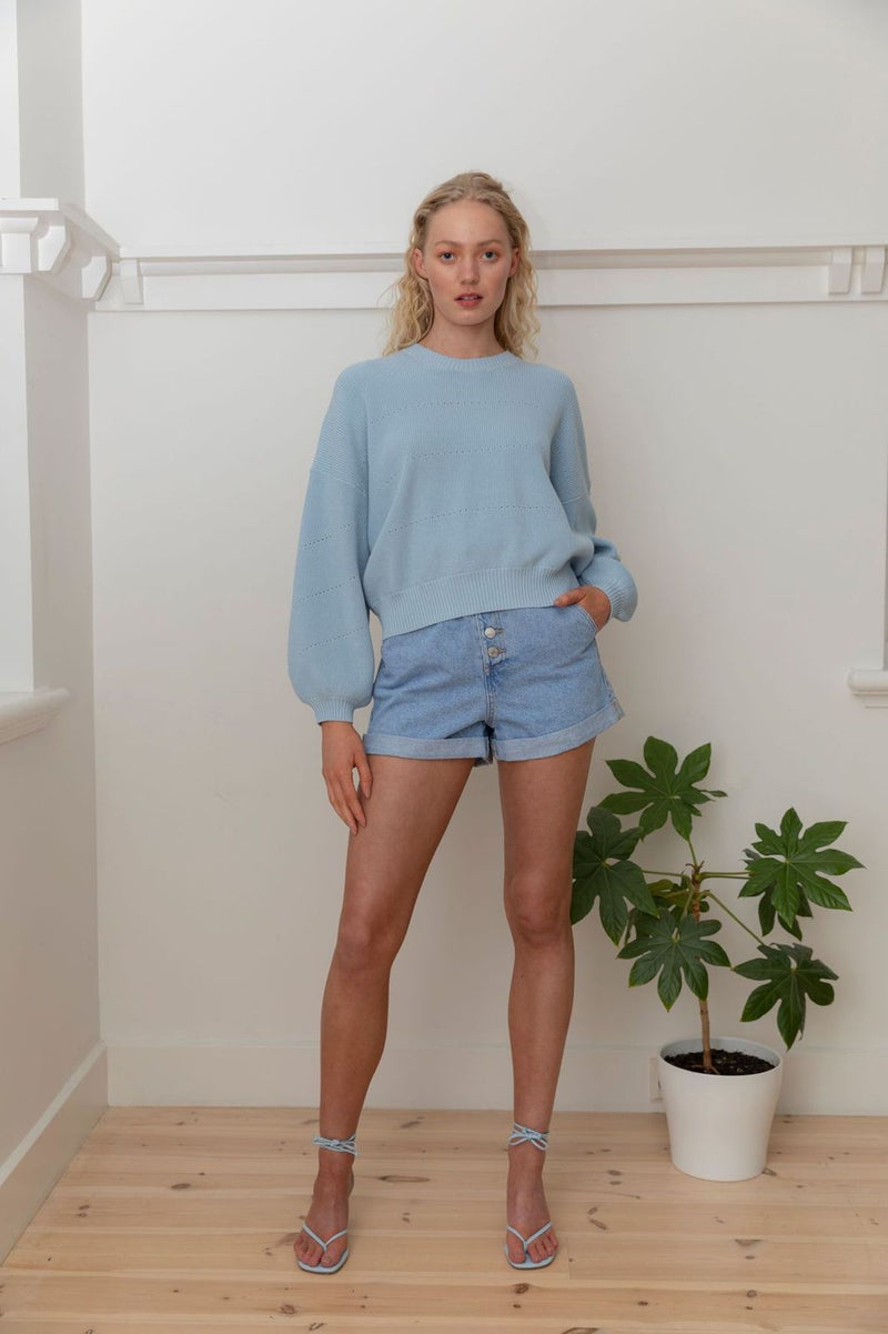 Cotton Pointelle Crew - Pale Blue
