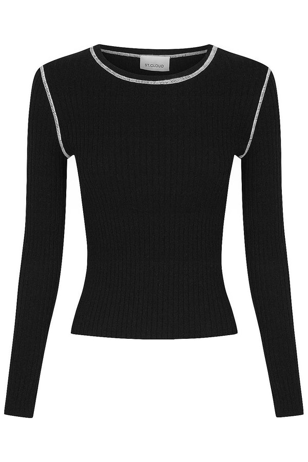 Long Sleeve Rib Crew - Black