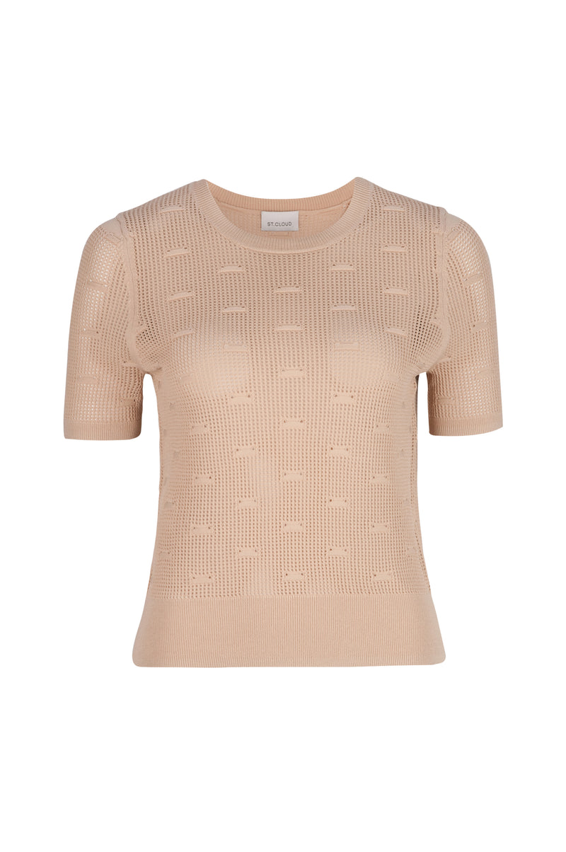 Elba Stitch Detail Knit Tee - Tan by  St Cloud Label