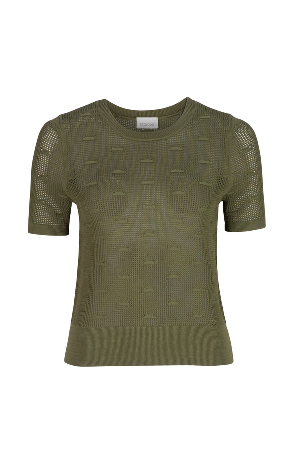Elba Stitch Detail Knit Tee - Khaki by  St Cloud Label
