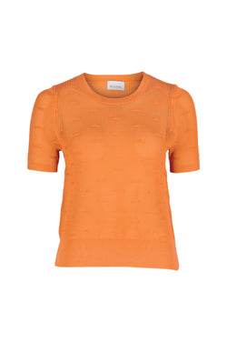 Elba Stitch Detail Knit Tee - Mandarin by  St Cloud Label