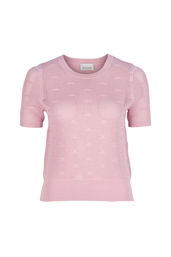 Elba Stitch Detail Knit Tee - Dusty Pink by  St Cloud Label