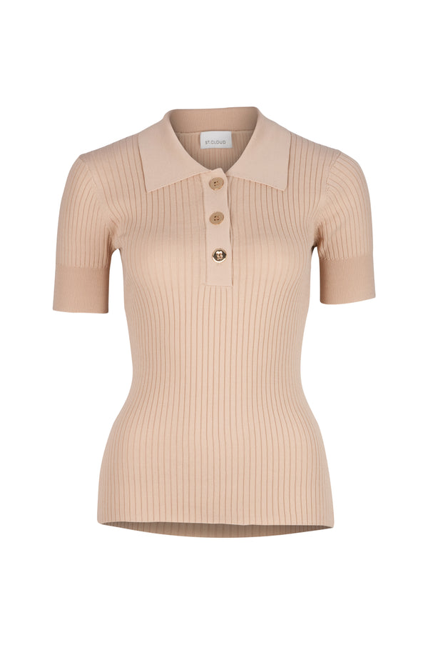 Rhodes Rib Knit Polo - Tan by  St Cloud Label