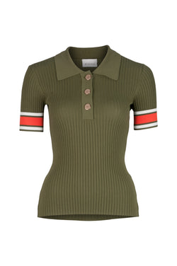 Rhodes Rib Knit Polo - Khaki Campari Stripe by  St Cloud Label