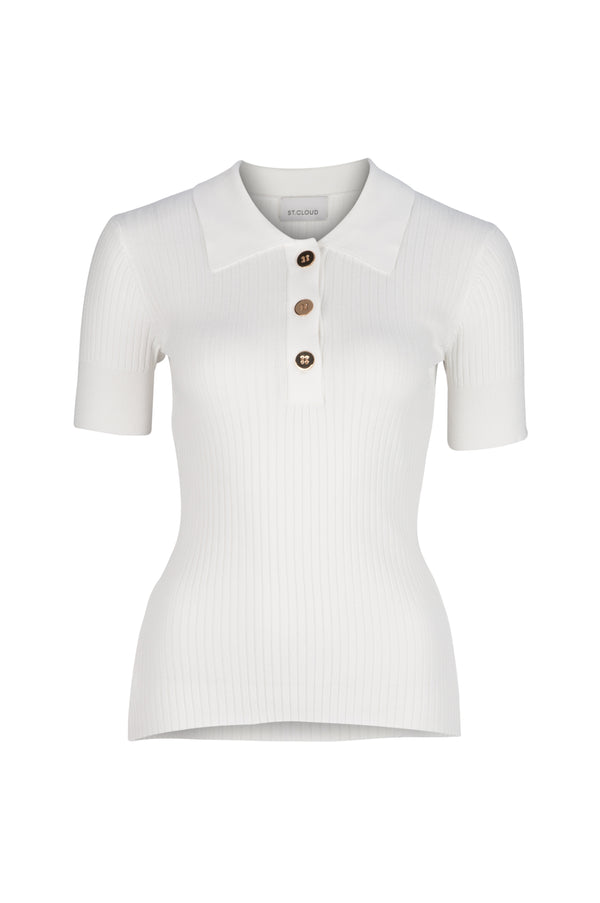 Rhodes Rib Knit Polo - White by  St Cloud Label
