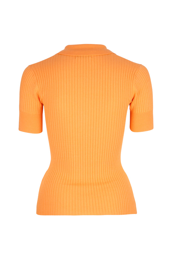 PRE ORDER - Rhodes Rib Knit Polo - Mandarin by  St Cloud Label