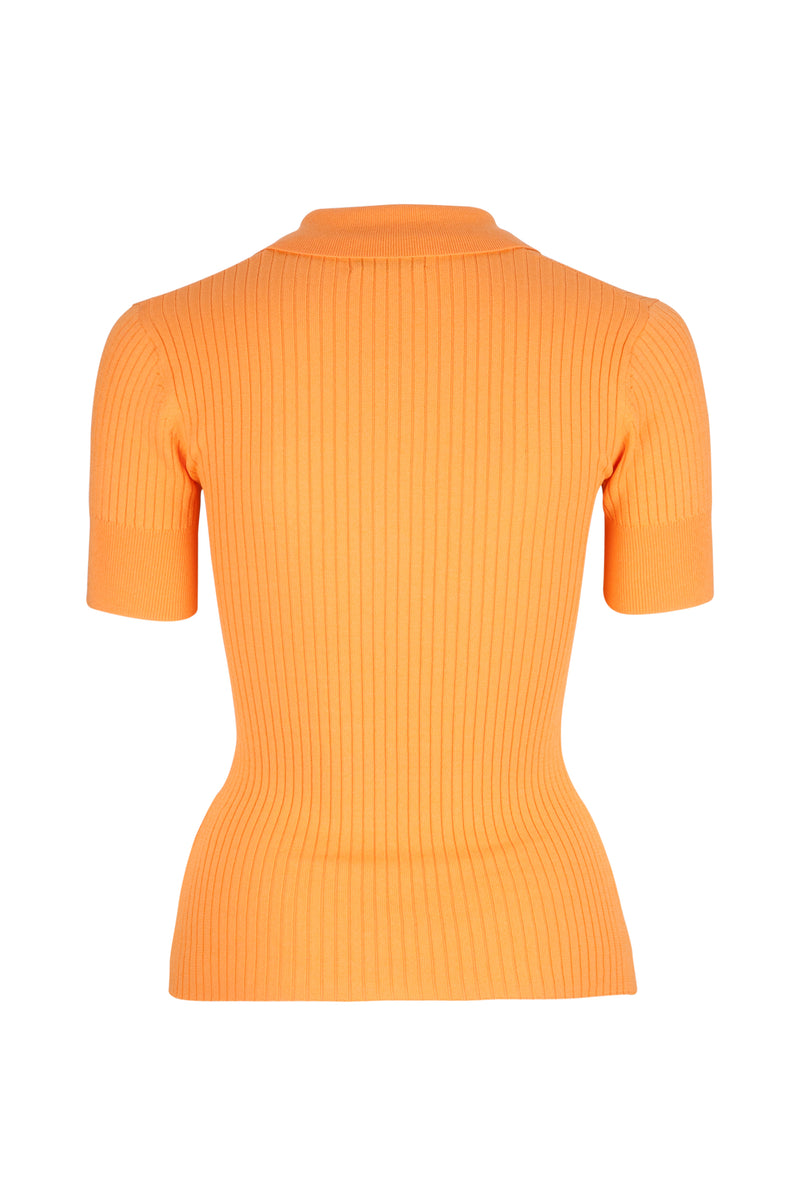 Rhodes Rib Knit Polo - Mandarin by  St Cloud Label