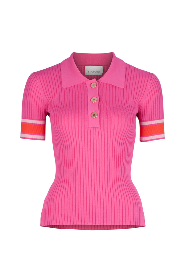 PRE ORDER - Rhodes Rib Knit Polo - Pink Campari Stripe by  St Cloud Label