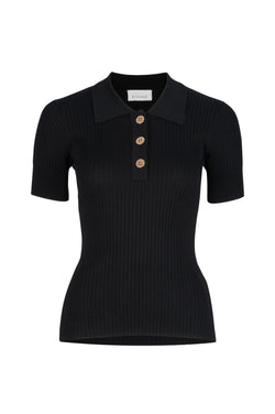 Rhodes Rib Knit Polo - Black by  St Cloud Label