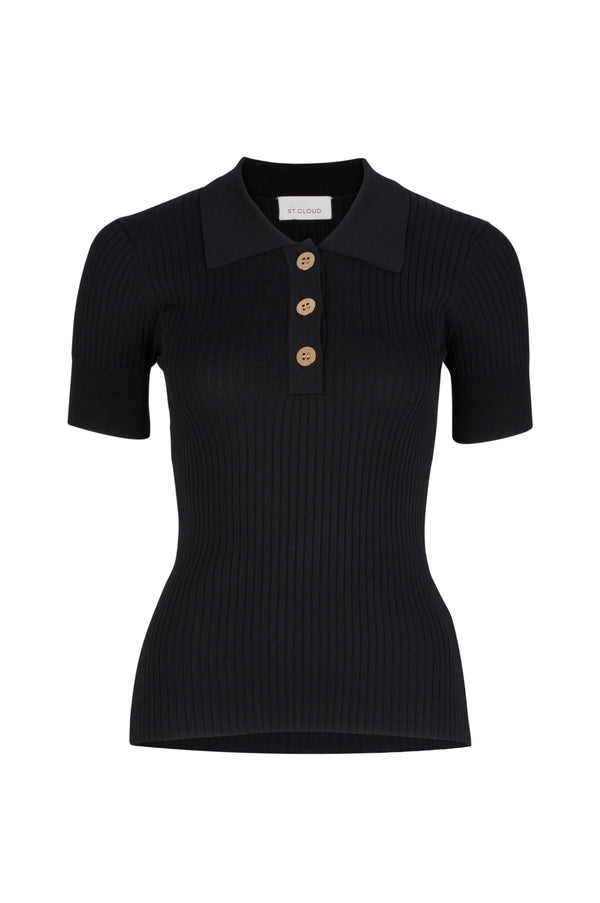 PRE ORDER - Rhodes Rib Knit Polo - Black by  St Cloud Label