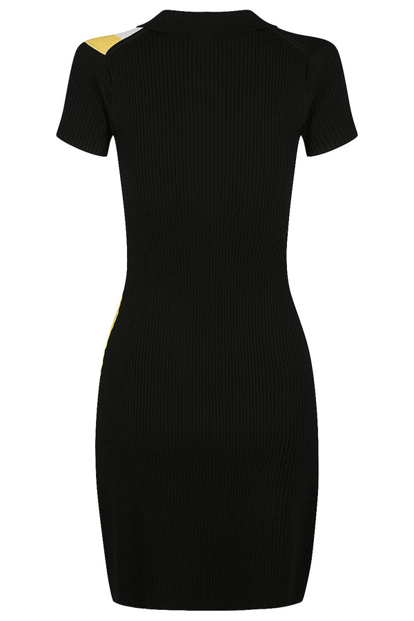 Zip Polo Dress - Black with Marigold and White * PRE ORDER *