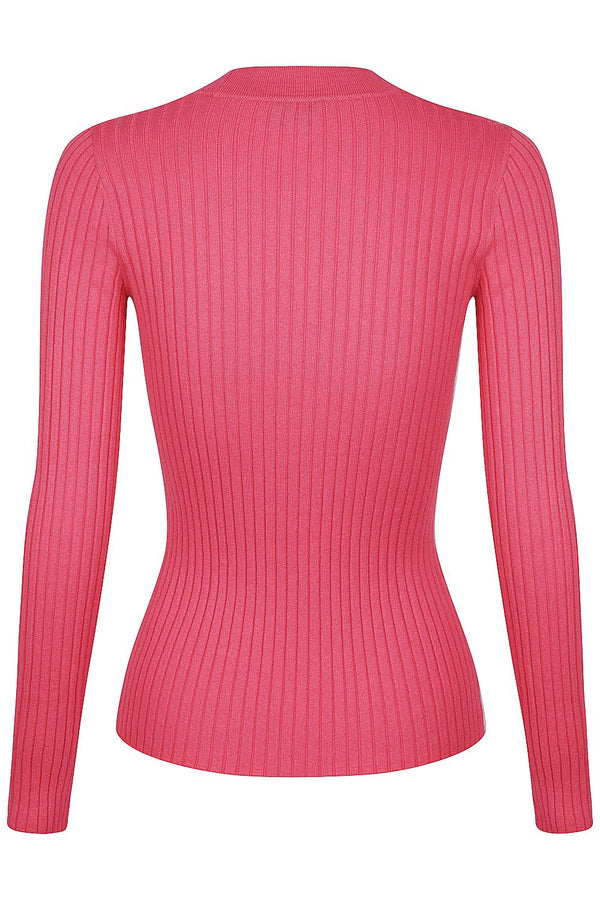 Long Sleeve V Neck Button Rib - Carnation
