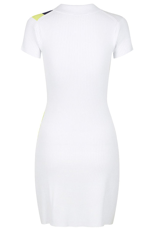 Zip Polo Dress - White with Lime and Navy * PRE ORDER *