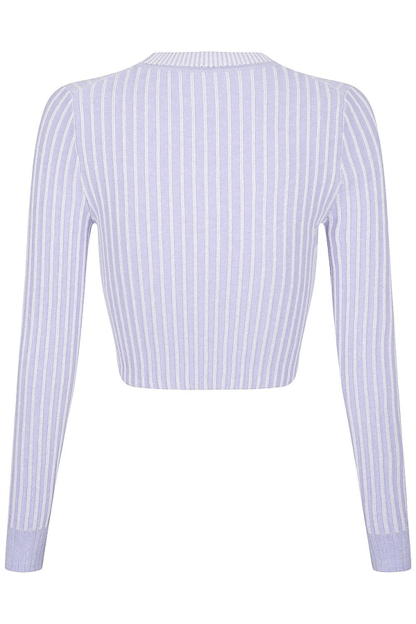 Two Tone Rib Crew - Candied Violet