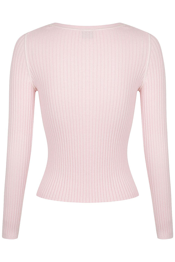 Long Sleeve Rib Crew - Pale Pink