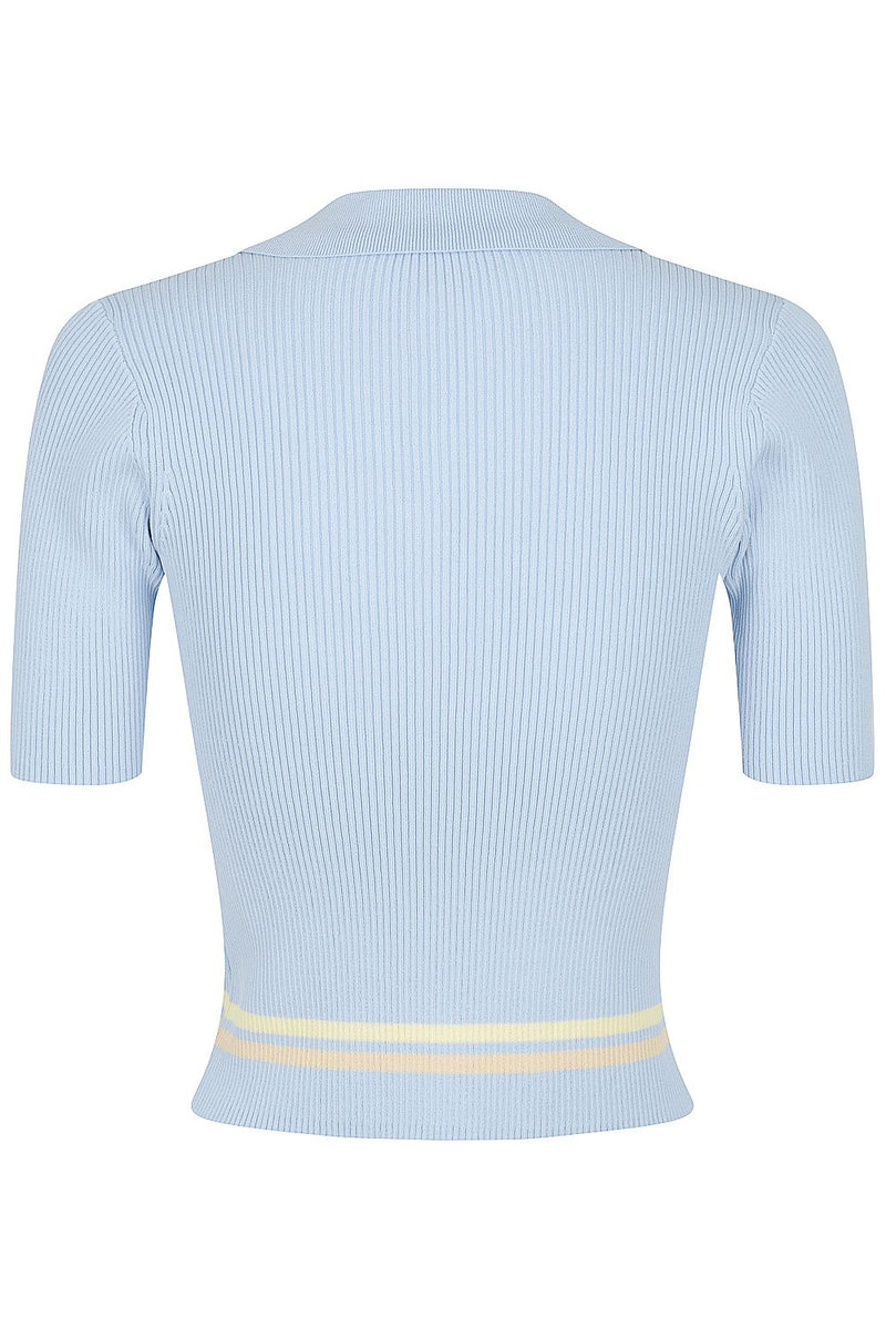 Stripe Rib Polo - Blue with Bone and Lemon