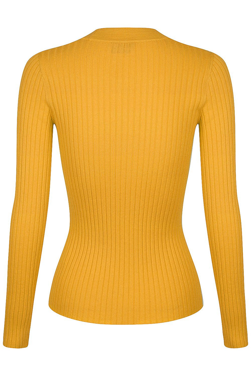 Long Sleeve V Neck Button Rib - Golden Sun
