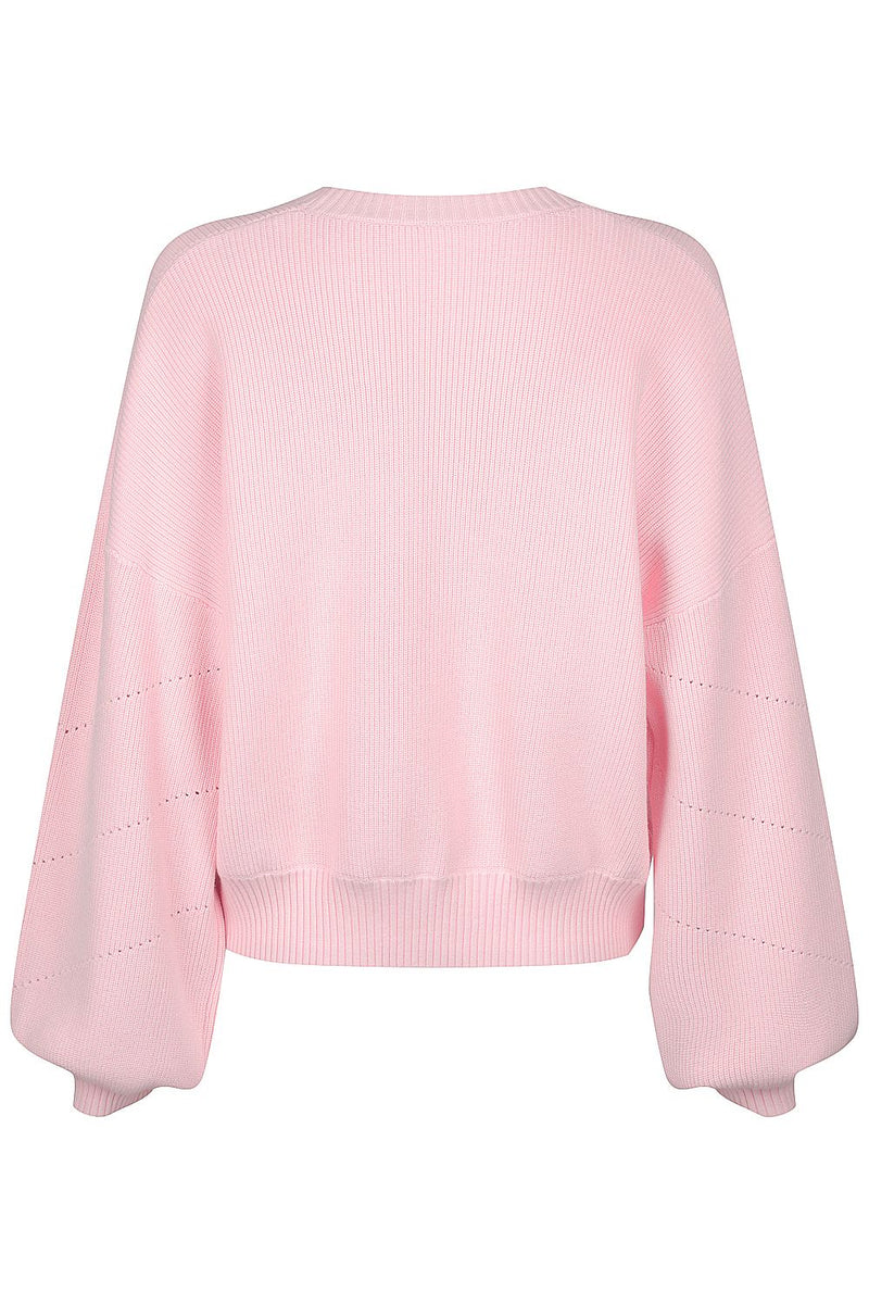 Cotton Pointelle Crew - Pale Pink