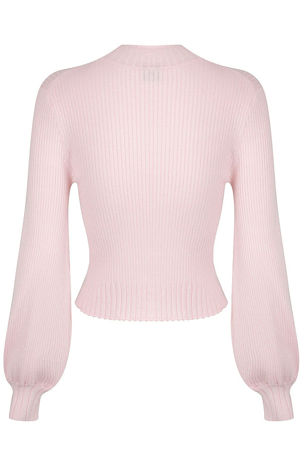 Balloon Sleeve Rib Knit - Pale Pink