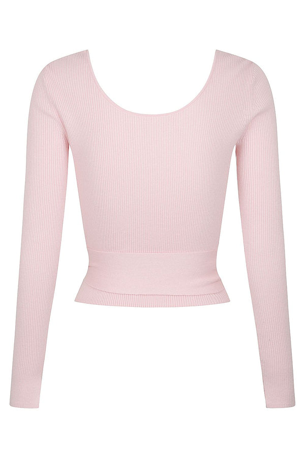 Reversible V Neck Ballet Wrap - Pale Pink